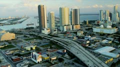Aerial view Miami Financial district, USA Stock Footage