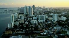 Aerial skyline sunset view Miami City, Florida Stock Footage