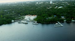 Aerial view of exclusive residential properties, Miami Stock Footage