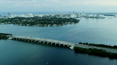 Aerial view Julia Tuttle Causeway, Miami Stock Footage