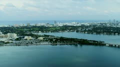 Aerial view residential properties, Miami South Beach Stock Footage