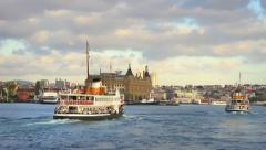 Passenger Ships in front of Haydarpasa Stock Footage