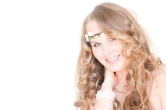 Beautiful woman with healthy blonde hair smiling Stock Photos