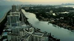 Aerial view Miami South Beach Resort, Florida Stock Footage