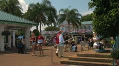 Theme Park Visitors at Seaworld Orlando Stock Footage