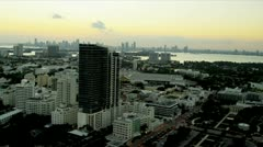 Aerial view Miami South Beach Resort, Florida - stock footage