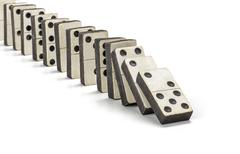 Row of old dominoes Stock Photos