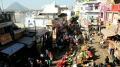 Local vegetable market Pushkar, India Stock Footage