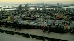 Aerial view Art Deco Hotels Miami South Beach Stock Footage