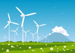 Stock Illustration of wind turbine. concept of ecology and environment