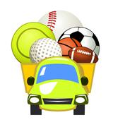 Stock Illustration of vector delivery truck and sport ball