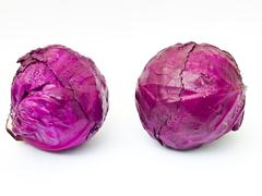 Head of red cabbage isolated on white background Stock Photos