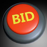 Bid 3d button Stock Illustration