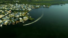 Aerial view coastal craft, Key Largo Stock Footage