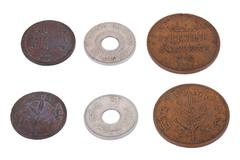 isolated palestine coins - high angle - stock photo