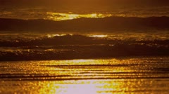 Golden Sunset Over Ocean Waves Stock Footage