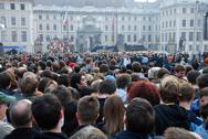 People waiting for the speech of american president Barack Obama Stock Photos