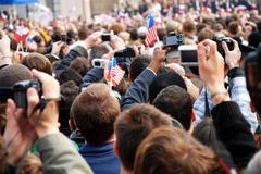 People waiting for the speech of american president Barack Obama - stock photo