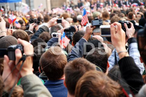 Stock photo of People waiting for the speech of american president Barack Obama