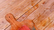 Meat food : raw beef fillet on cutting board Stock Footage