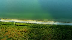Aerial view coastal Route US 1, Florida Stock Footage