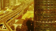 Aerial view of sandstorm Beijing,city overpass traffic,business building. Stock Footage