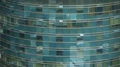 closeup skyscraper glass windows reflect ,business buildings,global commerce. - stock footage