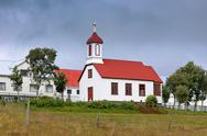 Stock Photo of rural icelandic church at bad weather