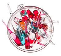 Medical ampoules in glass bowl isolated on a white Stock Photos