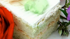 Sweet food: cake with whipped cream Stock Footage