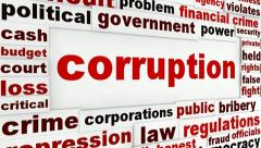 Corruption word clouds political design - stock footage