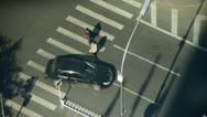 Aerial view of crosswalk & traffic at an urban city,zebra crossing. Stock Footage