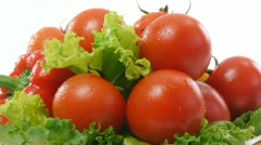 Ripe tomatoes with lettuce and pepper Stock Footage