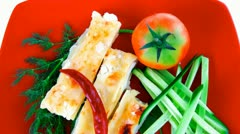Cannelloni served with pepper and tomato Stock Footage