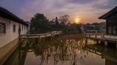Sunset in a Old Style Chinese Garden Stock Footage