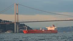 Red tanker ship sailing Stock Footage