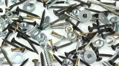 Screws, bolts and screw nuts ( rotating ) Stock Footage