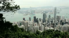 Victoria Peak, Victoria Harbour, Hong Kong - stock footage
