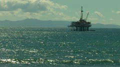 OFF SHORE OIL PLATFORM RIG ON SOUTHERN CALIFORNIA COAST 1080 HD VIDEO FOOTAGE Stock Footage