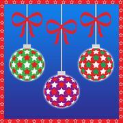 Three christmas ornaments - stock illustration