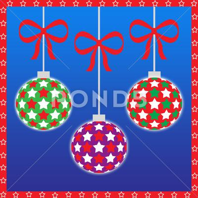 Stock Illustration of Three christmas ornaments