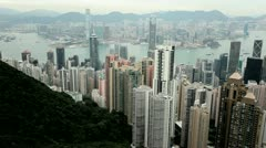 City skyscrapers Victoria Peak, Hong Kong Stock Footage