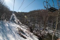 blue ridge mountains landscape in snow - stock photo