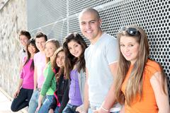 Diverse group of students or teens Stock Photos
