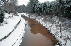 Winter scene on the creek Stock Photos