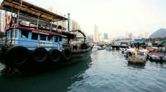 Junks, Sampans Aberdeen Harbour, HK Stock Footage