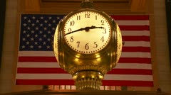 Grand Central Terminal Information Booth Clock Stock Footage
