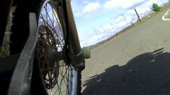 MOTORCYCLE STUNT POV EXTREME WHEELIE ON BEAUTIFUL COUNTRY ROAD HD VIDEO 1080 Stock Footage