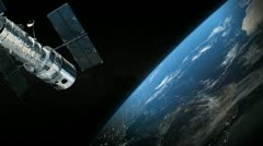 Satellite and earth planet in the outer space Stock Footage