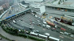 View of road traffic Kowloon Toll road, HK Stock Footage